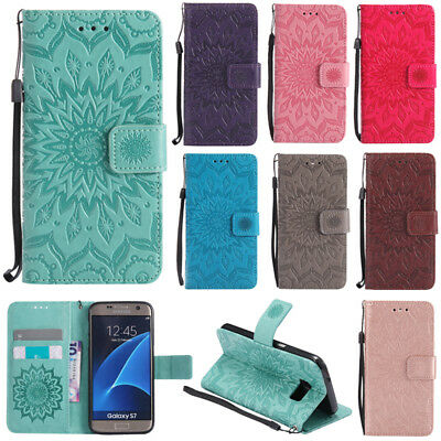 Flip Embossed PU Leather Lot Card Pocket Wallet Stand Strap Case Cover Silicone
