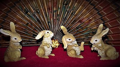 Awesome Collection Set of 4 Very Cute & Adorable Vintage Bunny Rabbits Figurines