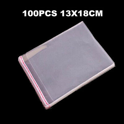 100pcs 13x18cm Self Adhesive Clear Cellophane Resealable Plastic Packaging Bags