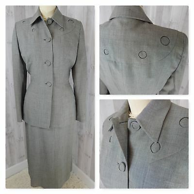 1940s True Vintage 2PC SUIT/OUTFIT~L Gray JACKET/SKIRT NIPPED WAIST 38BUST 25W