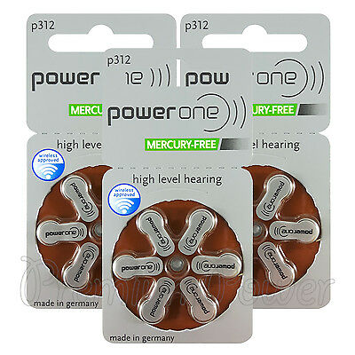 Power One 312 Size Hearing aid batteries Zinc air Mercury free Varta x 60 cells