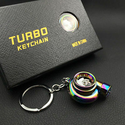 Turbo Keychain Car LED Sleeve Spinning Turbine Turbocharger Key Chain Keyfob