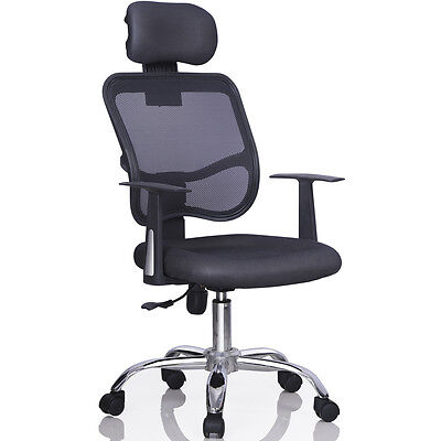 Adjustable Mesh Chair  Chrome Executive Office Computer Desk High Back Chair New