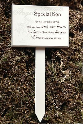 Memorial For Special Son Wooden Grave Stick, Stake Ornament Tribute F0898D