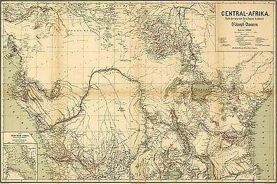 12x18 inch Reprint of Old Maps 1800S Central Afrika Africa in German