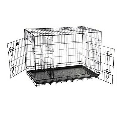 36in Folding Pet Crate Double Door Kennel Wire Cage with Divider- 36 Inch NEW