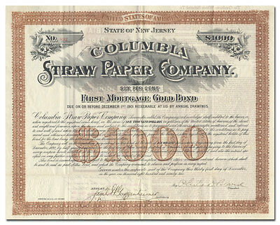 Columbia Straw Paper Company Bond Certificate (New Jersey)
