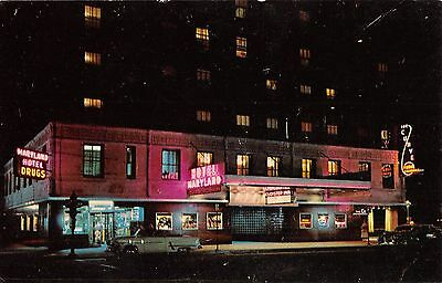 CHICAGO, IL ~ RUSH STREET ~ HOTEL MARYLAND, Old Cars, Signs, VTG Postcard 1-27