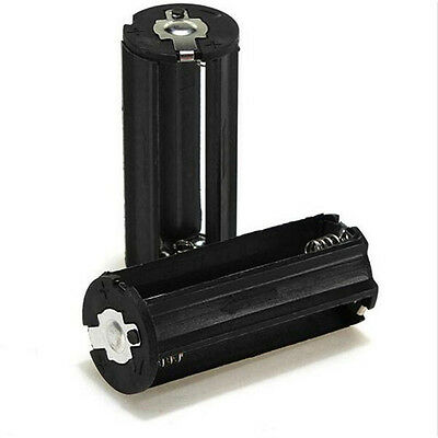 Cylindrical 3 AAA Plastic Battery Holder Adapter Case Box Flashlight Black Torch