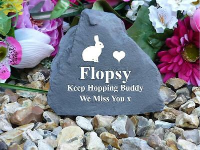 Rabbit Memorial - Garden Rock (Stone Effect) - Personalised - Weatherproof - S