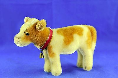 Vintage Circa 1960's Steiff Spotted Mohair Cow Red Collar Bell Missing Button