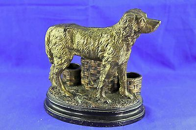 Antique Pottery Polychromed Setter Dog Smoking Station Figurine Marked Hb 555