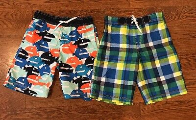 GYMBOREE Boy's Swim Board Shorts, Trunks Lot 2 Size L 10/12