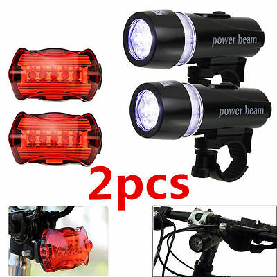 2 x 5LED Lamp Bike Bicycle Front Head Light+Rear Safety Waterproof Flashlight HH