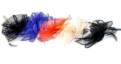 Sinamay Looped Flower & Feathers Fascinator Alice band Headband Weddings Races