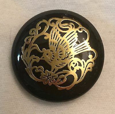 Beautiful! Vintage Button With Inlay / Overlay Bird & Floral In Brass