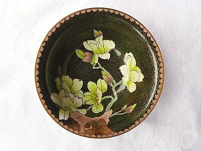Olive Green Colour Cloisonne Bowl With Flowers
