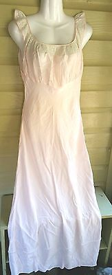 Vintage lingerie night gown sz S pink lng Unknown Brand empire bust lace trim