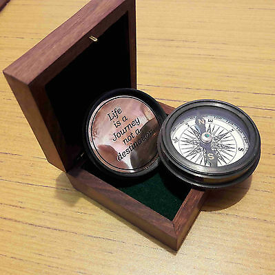Nautical Brass Compass With Wooden Box Marine Collectible Gift Item