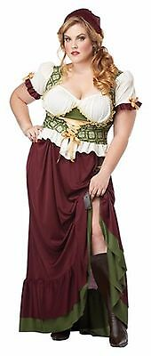 BATB11 Medieval RENAISSANCE WENCH Costume in Brown & Green Size 1X Plus (16-18)