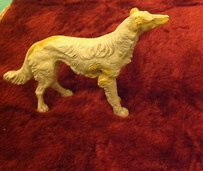 "VINTAGE Antique PAINTED METAL DOG RUSSIAN WOLFHOUND BORZOI 2 1/4"" Tall"