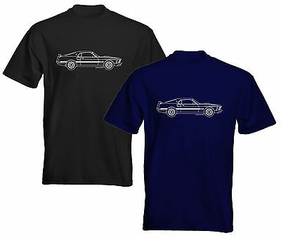 Velocitee Mens Premium T-Shirt Ford Mustang 1969 Mach 1 Blueprint Outline FM10