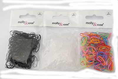 Pack 250 Small Mini Polyurethane Hair Elastics Bands Braiding Clear Black Bright
