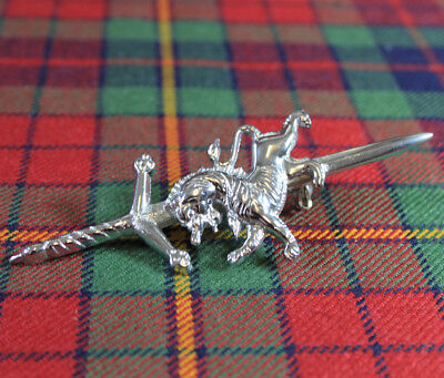 "New Scottish Highland Premium Steel 4"" Rampant Lion Claymore Kilt / Brooch Pin"