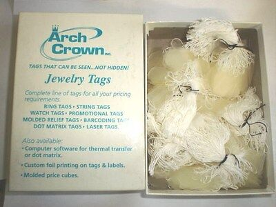 ARCH CROWN #905 Box Frosted White String Jewelry Tags NOS