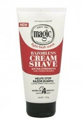MAGIC RAZORLESS CREAM SHAVE LIGHT FRESH SCENT EXTRA STRENGTH6oz FOR COARSE BEARD