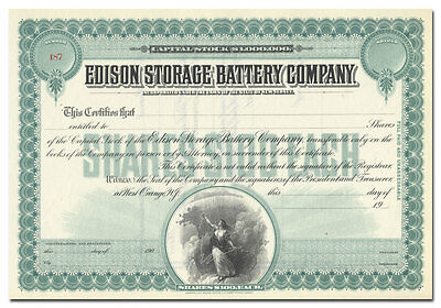 Edison Storage Battery Company Stock Certificate
