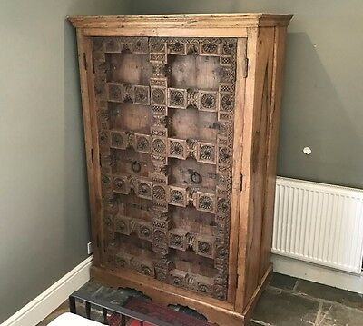 Stunning Vintage Indian Hand Carved Hard Wood Double Wardrobe