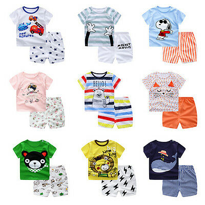 Baby Boys Girls Summer Cotton Clothing Suit (Shirt+Pants) Infant Kids Cloth SetR