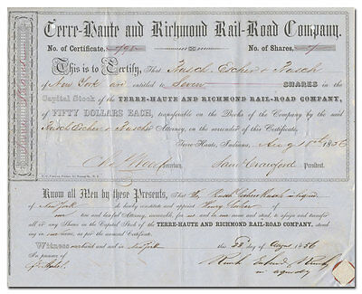 Terre-Haute & Richmond Rail-Road Company Stock Certificate (1850's)
