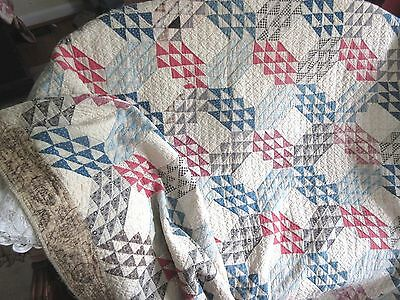 Antique Ocean Waves Quilt Early Fabric Red Blue Hand Pieced Stitch Civil War Era