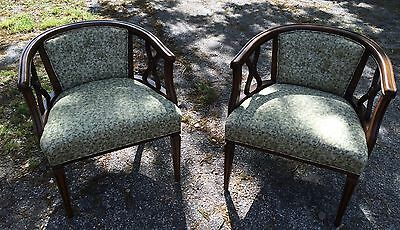Pair Of Beautiful Mahogany Vintage U Shaped Accent Chairs