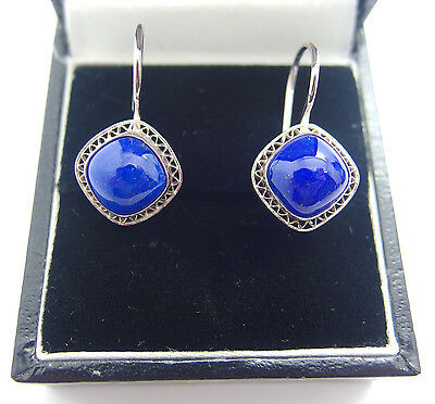 Stamped 925 Handcrafted Sterling Silver Lapis Lazuli Earring's