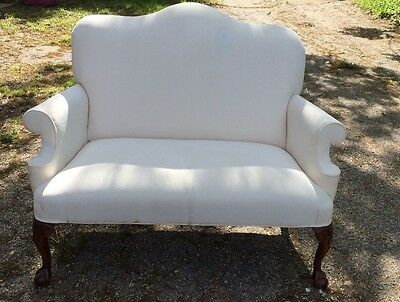 Victorian Settee Chair & A Half/Cuddle Chair White Chippendale Legs
