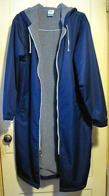 Speedo Unisex Swimmer Hooded Parka Size Adult S Navy Blue Fleece Lined