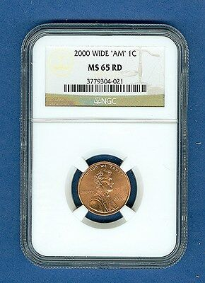 """2000 WIDE AM Type Two Rev. Lincoln Cent MS65 RED """"NGC"""""""