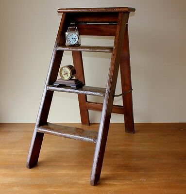 Antique 19th Century Victorian Mahogany Leather Folding Library Steps Ladders