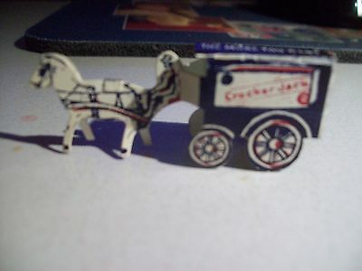 Cracker Jack and Angelus Marshmallows tin horse & buggy toy - Metal 2002 - Repro