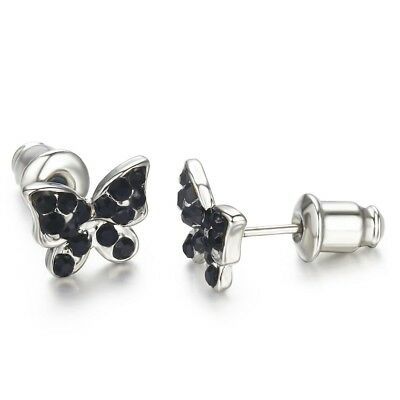 Surgical Stainless Steel Allergy Free Sparkling Girls Butterfly Stud Earrings