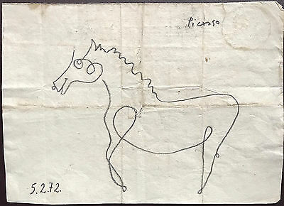 Picasso Original Graphite Hand Signed Drawing Standing Horse