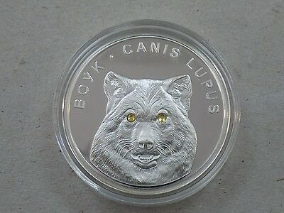 2007 Belarus 20 Roubles Crystal In Eyes Coin Silver Proof  Boyk Canis Lupus