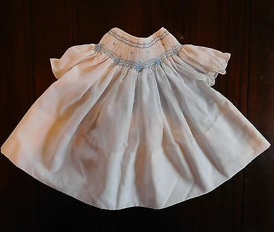 Vintage Baby Girls Newborn 0-3 Months White Blue Embroidered Smocked Dress