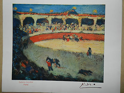Pablo Picasso Vintage Genuine 1946 Lithograph bull fight Art Print Hand Signed