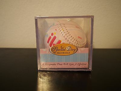 """""""ITS A GIRL"""" Baseball -BIRTH ANNOUNCEMENT/Keepsake/GIFT/Pink - INCLUDES DISPLAY"""