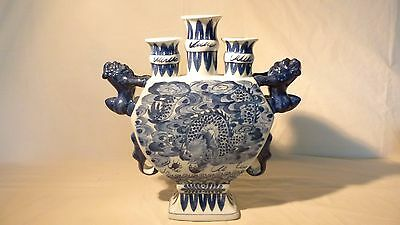 Chinese Blue And White 3 Mouth Porcelain Dragon Vase