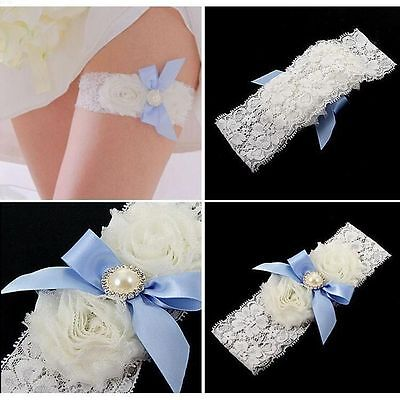 Elastic Bridal Girl Flower Party Lace Bowknot White Pearl Garter